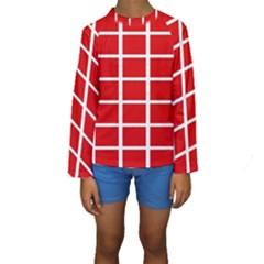 Red Cubes Stripes Kid s Long Sleeve Swimwear