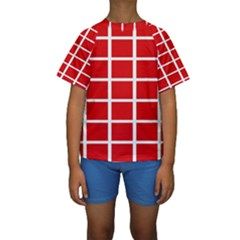 Red Cubes stripes Kid s Short Sleeve Swimwear