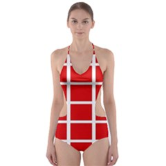 Red Cubes Stripes Cut Out One Piece Swimsuit