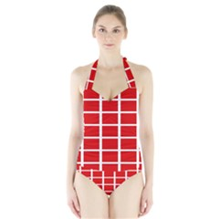 Red Cubes Stripes Women s Halter One Piece Swimsuit