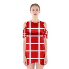 Red Cubes stripes Cutout Shoulder Dress