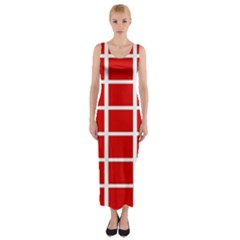Red Cubes Stripes Fitted Maxi Dress
