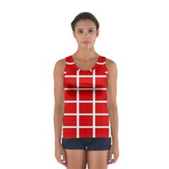Red Cubes Stripes Tops