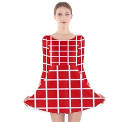 Red Cubes Stripes Long Sleeve Velvet Skater Dress
