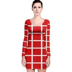 Red Cubes stripes Long Sleeve Velvet Bodycon Dress
