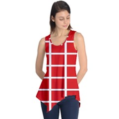 Red Cubes Stripes Sleeveless Tunic
