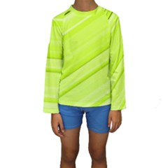 Bright Green Stripes Kid s Long Sleeve Swimwear