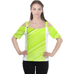 Bright Green Stripes Women s Cutout Shoulder Tee
