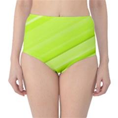 Bright Green Stripes High Waist Bikini Bottoms
