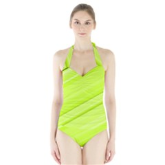 Bright Green Stripes Women s Halter One Piece Swimsuit
