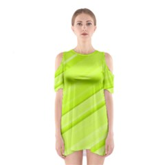 Bright Green Stripes Cutout Shoulder Dress