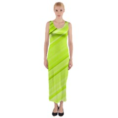Bright Green Stripes Fitted Maxi Dress