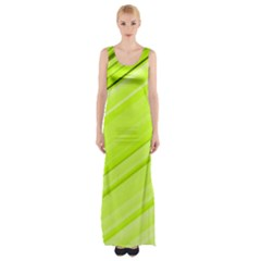 Bright Green Stripes Maxi Thigh Split Dress
