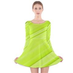 Bright Green Stripes Long Sleeve Velvet Skater Dress