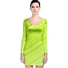 Bright Green Stripes Long Sleeve Velvet Bodycon Dress