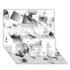 Gray And Silver Cubes Abstract Get Well 3d Greeting Card (7x5)