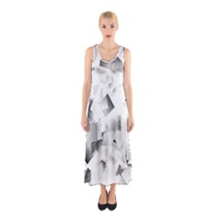 Gray and Silver Cubes Abstract Full Print Maxi Dress
