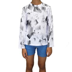 Gray and Silver Cubes Abstract Kid s Long Sleeve Swimwear