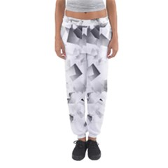 Gray and Silver Cubes Abstract Women s Jogger Sweatpants