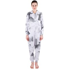 Gray And Silver Cubes Abstract Hooded Jumpsuit (ladies)