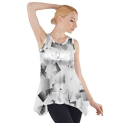 Gray and Silver Cubes Abstract Side Drop Tank Tunic