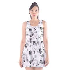 Gray and Silver Cubes Abstract Scoop Neck Skater Dress