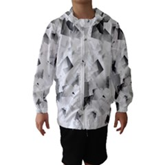 Gray and Silver Cubes Abstract Hooded Wind Breaker (Kids)