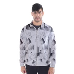 Gray and Silver Cubes Abstract Wind Breaker (Men)