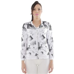 Gray and Silver Cubes Abstract Wind Breaker (Women)