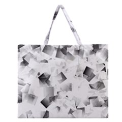 Gray And Silver Cubes Abstract Zipper Large Tote Bag