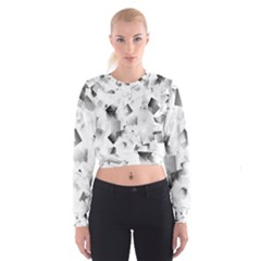 Gray and Silver Cubes Abstract Women s Cropped Sweatshirt