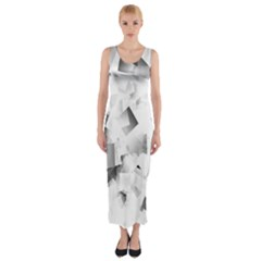 Gray and Silver Cubes Abstract Fitted Maxi Dress