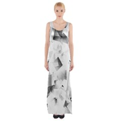 Gray and Silver Cubes Abstract Maxi Thigh Split Dress