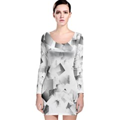 Gray and Silver Cubes Abstract Long Sleeve Velvet Bodycon Dress