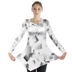 Gray And Silver Cubes Abstract Long Sleeve Tunic