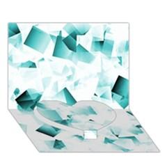 Modern Teal Cubes Heart Bottom 3d Greeting Card (7x5)