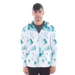 Modern Teal Cubes Hooded Wind Breaker (Men)
