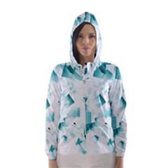 Modern Teal Cubes Hooded Wind Breaker (Women)