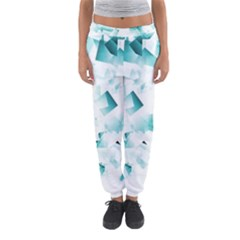 Modern Teal Cubes Women s Jogger Sweatpants