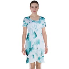 Modern Teal Cubes Short Sleeve Nightdress