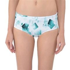 Modern Teal Cubes Mid Waist Bikini Bottoms