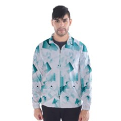 Modern Teal Cubes Wind Breaker (Men)