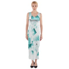 Modern Teal Cubes Fitted Maxi Dress