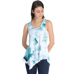 Modern Teal Cubes Sleeveless Tunic