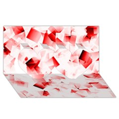 Modern Red Cubes Twin Hearts 3d Greeting Card (8x4)