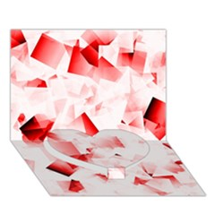 Modern Red Cubes Heart Bottom 3d Greeting Card (7x5)