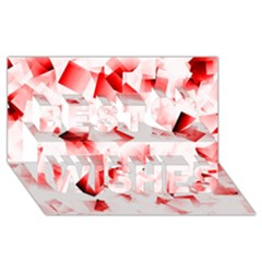 Modern Red Cubes Best Wish 3d Greeting Card (8x4)