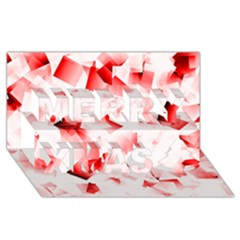 Modern Red Cubes Merry Xmas 3d Greeting Card (8x4)