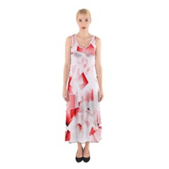 Modern Red Cubes Full Print Maxi Dress