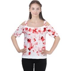 Modern Red Cubes Women s Cutout Shoulder Tee